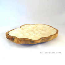 Round Teak Driftwood Tray With Resin Capiz Shell Inlay