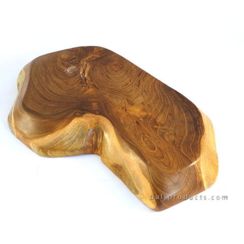 Natural Shape Teak Wood Tray With Mop Inlay