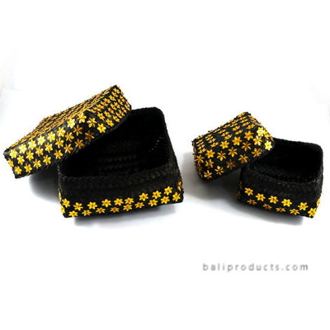 Set Of 3 Bamboo Box Black With Golden Star Beads