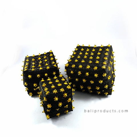 Set 3 Bamboo Box Black Golden Star Beads