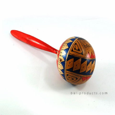 Rattle Toy Instrument With Flower Painting Motif