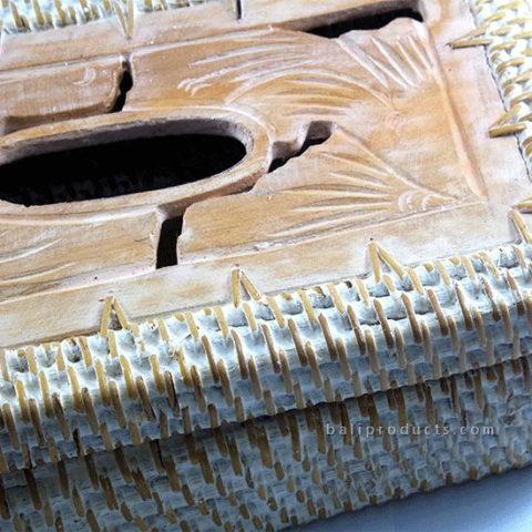 Lombok Rattan With Wood Carving Tissue Box White Washed