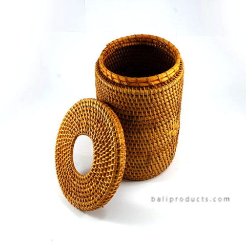 Lombok Rattan Waste Bin Round Light Brown