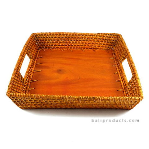 Lombok Rattan Tray Square With Wood Base Brown