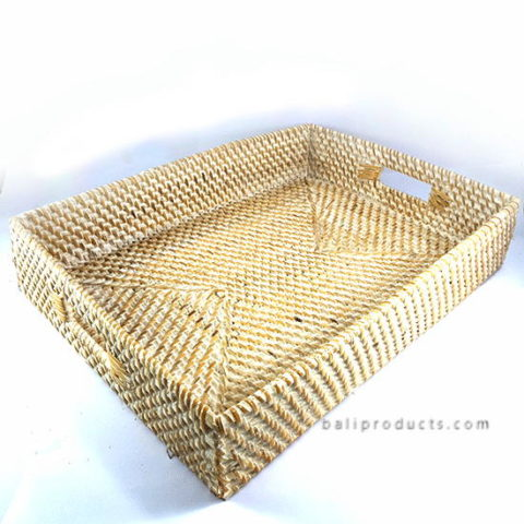 Lombok Rattan Tray Rectangular White Washed