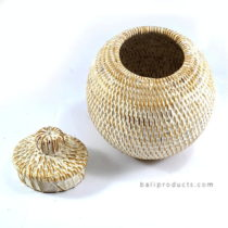 Lombok Rattan Round Container With Lid White Washed