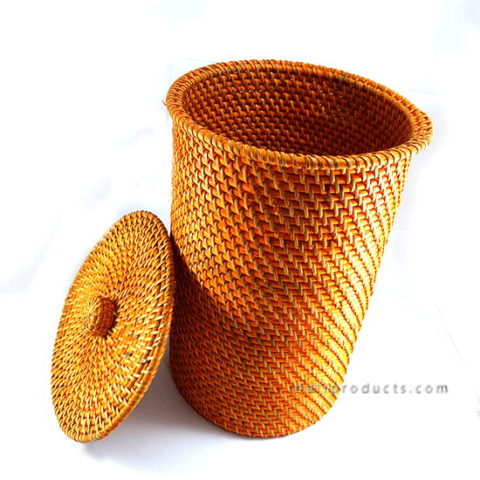 Lombok Rattan Round Waste Bin With Lid Yellow Bb
