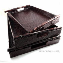 Set 3 Pandanus Tray With Bamboo Handle Dark Brown